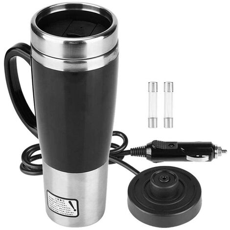 Car Kettle Mug Stainless Steel Travel Heating Mug Hot Tea Coffee Drinking Cup 450ML 12V / 24V (12V)