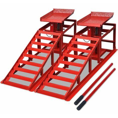 Car Repair Ramps 2 pcs Red Steel