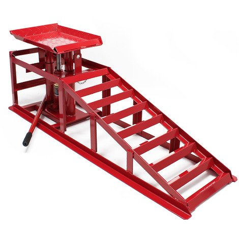 Car service ramp with hydraulic jack 4409lbs (2000kg) height adjustable for tyre width up to 225mm
