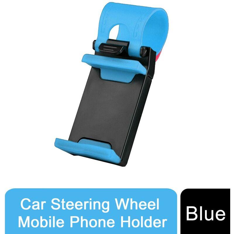 Image of Car Steering Wheel Mobile Phone Holder for All Mobiles Blue