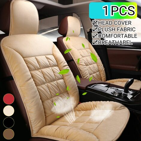 Car Styling Front Plush Seat Cushion Head Cap Comfortable Cover Cushion (Red, 1pcs with Head Cover)