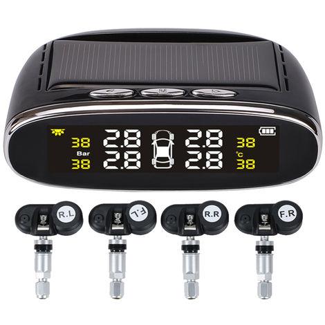 Car TPMS Tire Pressure Digital Solar Energy Monitoring System LCD Display with 4 Internal Sensors