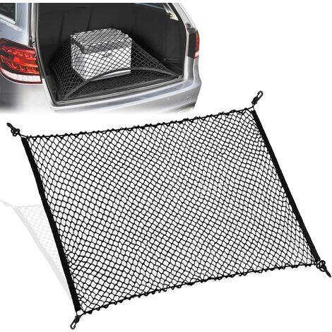 """main image of """"Car Trunk Net with 4 Hooks, Nylon Fixed Luggage Net, Elastic Rear Storage Mesh Net for Most Cars (Black)"""""""