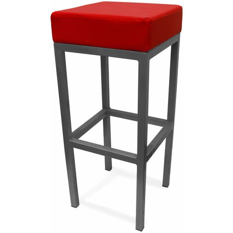 Cara Black Padded Steel Square Stool Fixed Height Brushed Frame 3 Colours