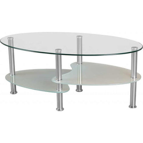 Cara Coffee Table - Clear/frosted Glass/silver