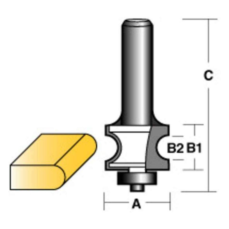 Image of Carbitool Bull Nose Radius Router Bit W/Bearing 1/2' Shank