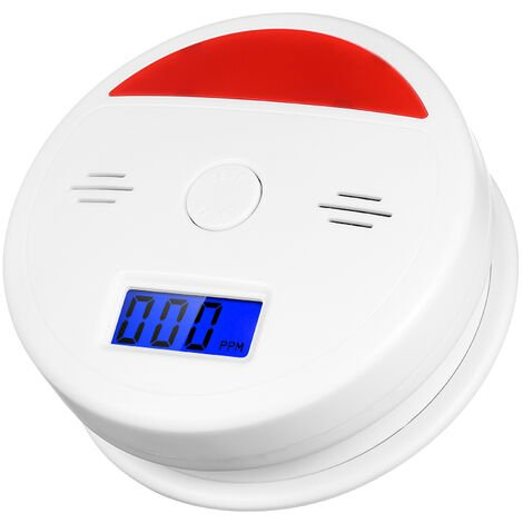 "main image of ""Carbon Monoxide Detector Alarm LCD Display Peak Memory Battery Operated Not Hardwired CO Detector Alarms Sensor,model:White"""