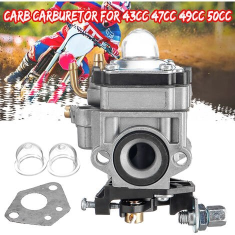 Carburador Carb Scooter Desbrozadora para 43cc 47cc 49cc 50cc 52cc 2 tiempos 11mm Agujero
