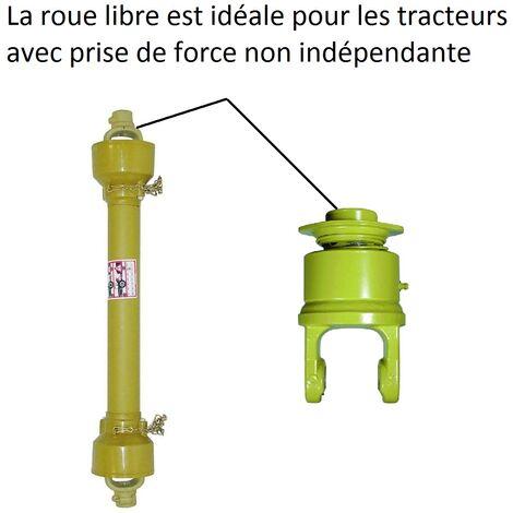 Cardan de transmission avec roue libre pour tracteur ou microtracteur.