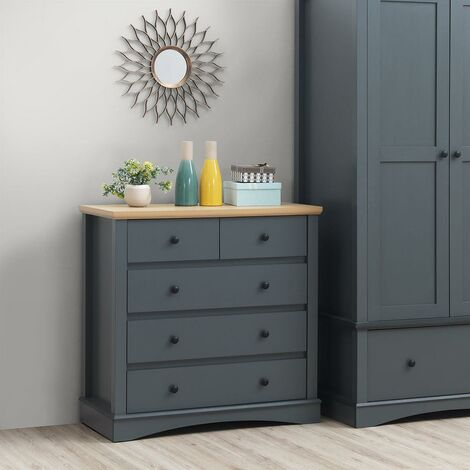 Carden 3+2 5 Drawer Bedroom Cabinet Chest of Drawers Dark Grey and Oak