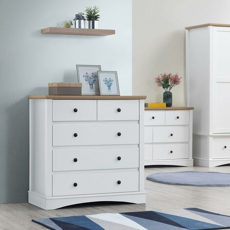 Carden Bedroom Chest of Drawers 5 Drawer Storage Cabinet White & Oak Furniture