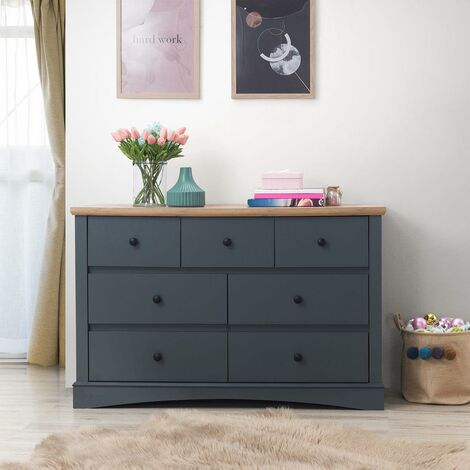 Carden Bedroom Chest of Drawers 7 Drawer 3+4 Dark Grey and Oak