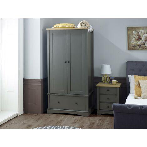 Carden Grey 2 Door Double Wardrobe 1 Drawer - Bedroom Furniture Storage Cupboard
