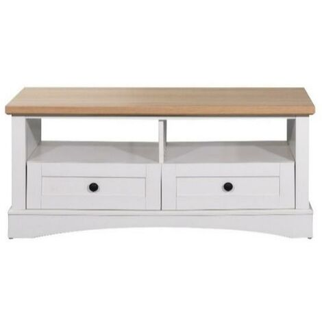 Carden Living Room Coffee Table 2 Drawers White & Oak Storage Furniture