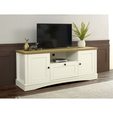 Carden TV Unit Stand Media Cabinet 2 Doors + Drawer White & Oak