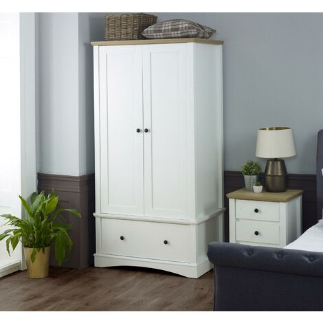 Carden White 2 Door Double Wardrobe 1 Drawer Bedroom Furniture Storage Cupboard