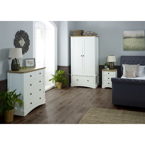 Carden White 3 Piece Bedroom Set Double Wardrobe 3+2 Chest Bedside Table