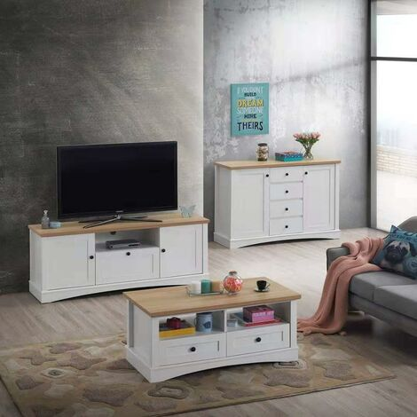Carden White 3 Piece Living Room Set Coffee Table Sideboard TV Unit