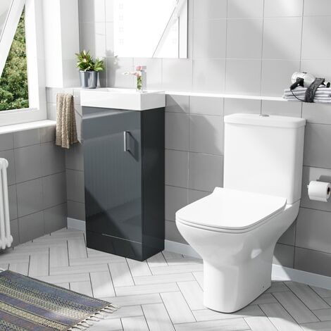 Carder 400mm Floorstanding Vanity Unit And Rimless Close Coupled Toilet Dark Grey
