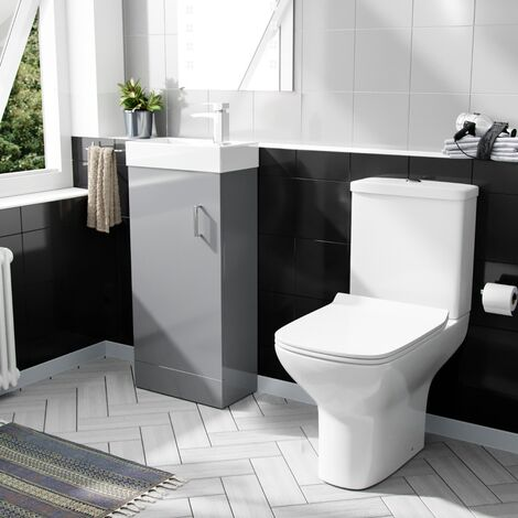 Carder 400mm Floorstanding Vanity Unit And Rimless Close Coupled Toilet Light Grey