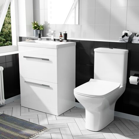 Carder 600mm Floorstanding 2 Drawer Vanity Unit And Rimless Close Coupled Toilet White