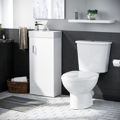 Carder Cloakroom 400 Basin Vanity Storage Cabinet and Close Coupled WC Toilet