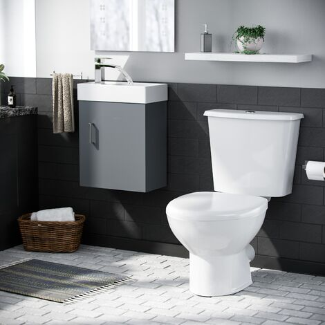 Carder Cloakroom 400 Grey Basin Vanity Cabinet Wall Hung and Toilet