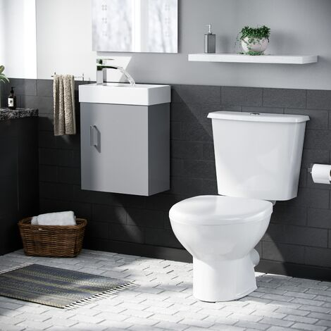 Carder Cloakroom 400 mm Basin Sink Vanity Unit Wall Hung with WC Toilet