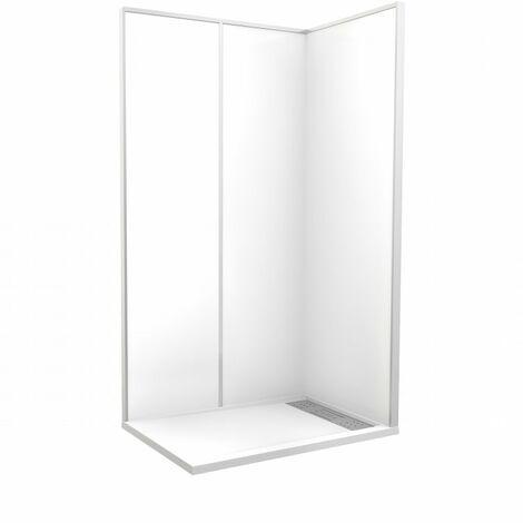 CAREA - Cabine de douche 'Espace Douche' 120x80x212 cm blanc uni lisse - Couleur - Blanc - Blanc