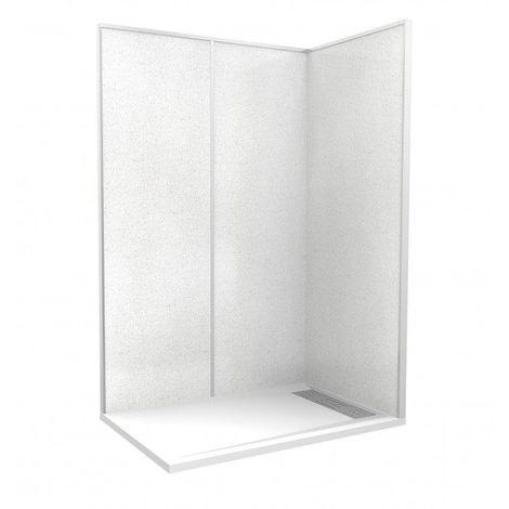 CAREA - Cabine de douche 'Espace Douche' 140x90 blanc cendré lisse - Couleur - Blanc cendré