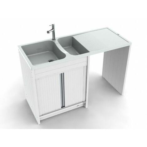 CAREA - Concept évier + meuble Giga 140 PVC - Blanc