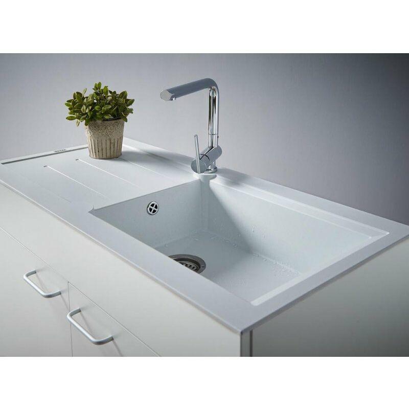 CAREA - Concept évier + meuble 105 cm - Couleur évier - Gris béton - Gris béton