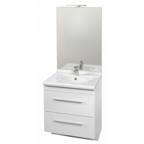CAREA - Ensemble meuble et vasque Carina + miroir toute hauteur LED - largeur 700 mm - Couleur - Gris fumé, Couleur vasque - Blanc moucheté