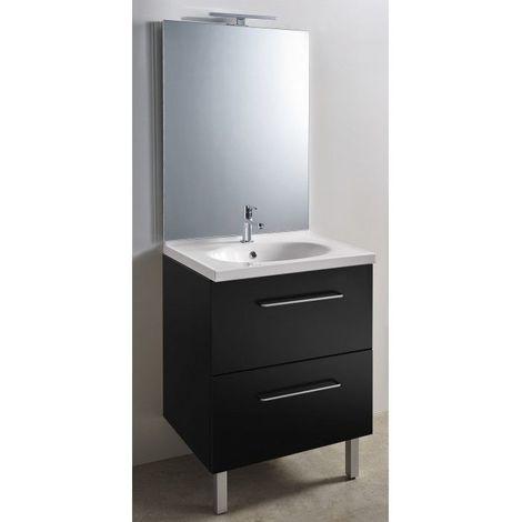 CAREA - Ensemble meuble et vasque + miroir toute hauteur LED - largeur 700 mm - Couleur - Noir