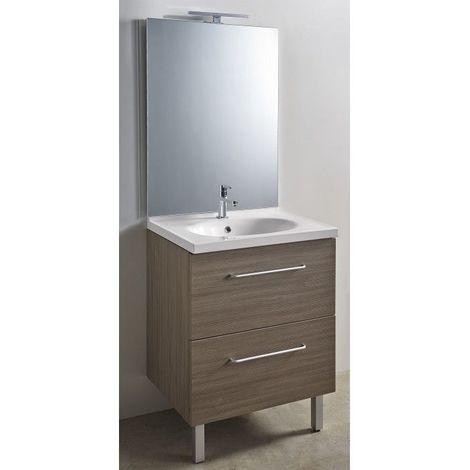 CAREA - Ensemble meuble et vasque + miroir toute hauteur LED - largeur 700 mm - Couleur - Pin baltique, Couleur vasque - Beige Hoggar - Pin baltique