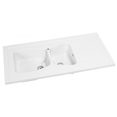 CAREA - Évier à poser sur meuble ANTARES blanc uni - Couleur - Blanc - Blanc