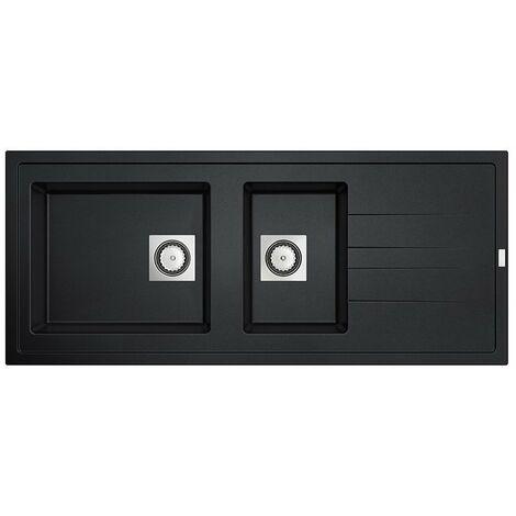 CAREA - Évier Granit ARCOS 2 cuves - Couleur - Noir - Noir