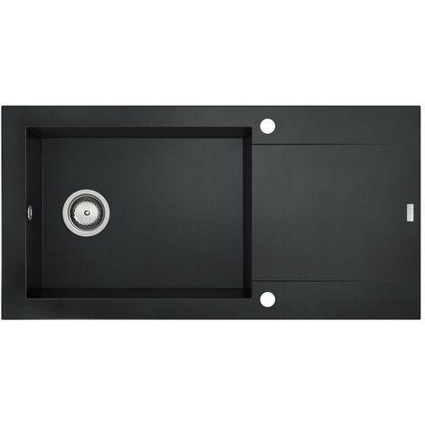 CAREA - Évier Granit BALSA 1 giga cuve - Couleur - Noir - Noir