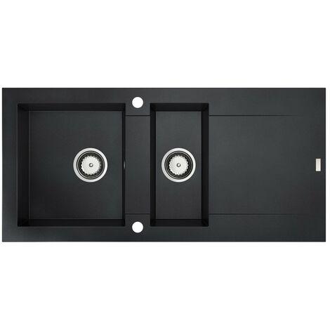 CAREA - Évier Granit BALSA 1,5 cuve - Couleur - Noir - Noir
