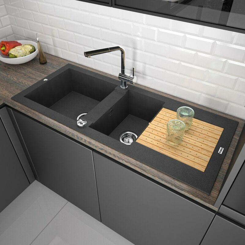 Carea Cuisine&bain - CAREA - Évier séchant ÉOLE 2 cuves - Couleur - Noir - Noir