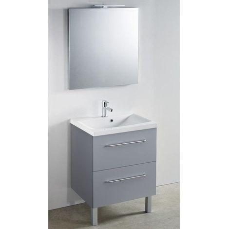 CAREA - Meuble 60 cm + vasque + miroir LED - 600 x 480 mm - Couleur - Gris fumé - Gris fumé