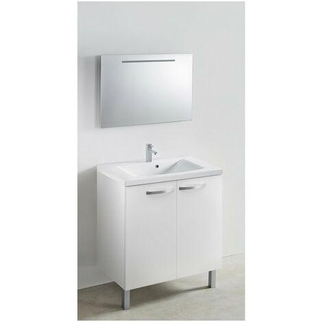 Meuble 120 cm blanc vasque 1200 x 480 mm CAREA miroir applique LED