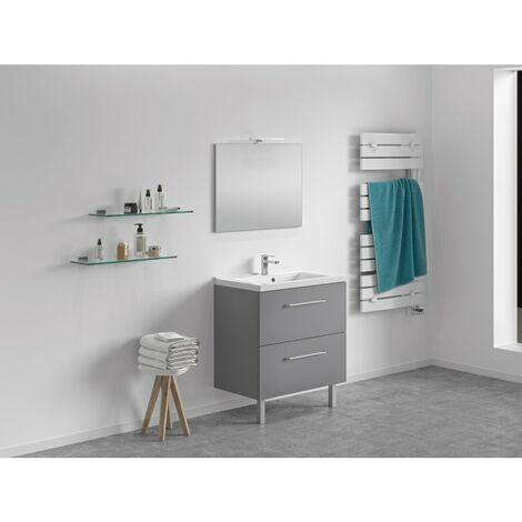 CAREA - Meuble 80 cm + vasque + miroir - 800 x 480 mm - Couleur - Gris fumé - Gris fumé