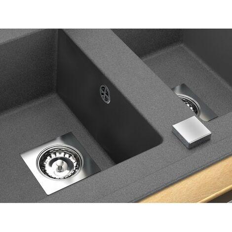 CAREA - Vidage automatique 2 cuves modèle carré chromé - chromé