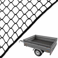 Caretec Anhängernetz schwarz in verschiedene Größen Gepäcknetz Abdecknetz zur Ladungssicherung Pkw Anhänger Netz Sicherung