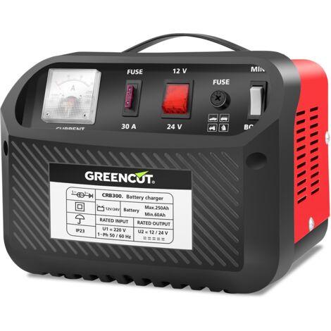 Cargador de batería multifunción CRB300 de 12V/24V y fusible 30A para coche y moto - Greencut