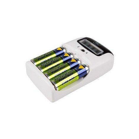 Cargador de Baterías Nimh Aa o Aaa con Pantalla, incluye cable mechero 12v y 4 pilas AA 9702 DSK
