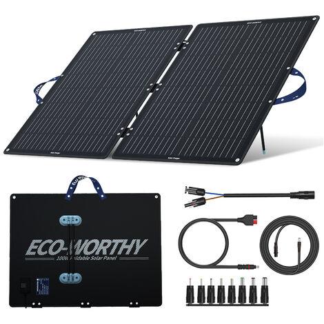 Cargador de panel solar plegable de 60 vatios y controlador PWM de 20 A para generador portátil, batería