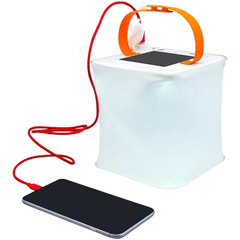 Cargador de telefono USB de luz de linterna inflable solar portatil 4 modos de iluminacion Lampara de camping plegable para viajes Camping de emergencia