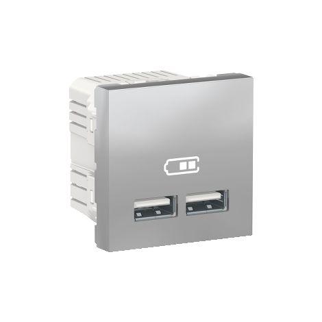 Cargador doble USB 2,1A 2 mod. Aluminio SCHNEIDER ELECTRIC NU341830